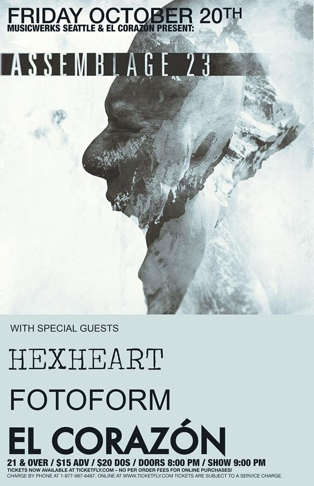 Hexheart will support our friends Assemblage 23 in Seattle for a one off show on Friday October 20th. Also performing is fotoform!