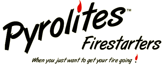Pyrolites Firestarters are a high quality product for lighting your daily fire.  Pyrolites are made from wood fiber and high temperature paraffin wax (candel wax) that does not leave an oily feel on your hands after use.  Pyrolites are sized just
