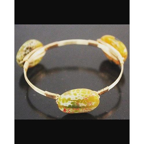 agate stone gold energy bangle