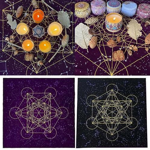 Crystal Grid Scared geometry Velvet altar Cloth
