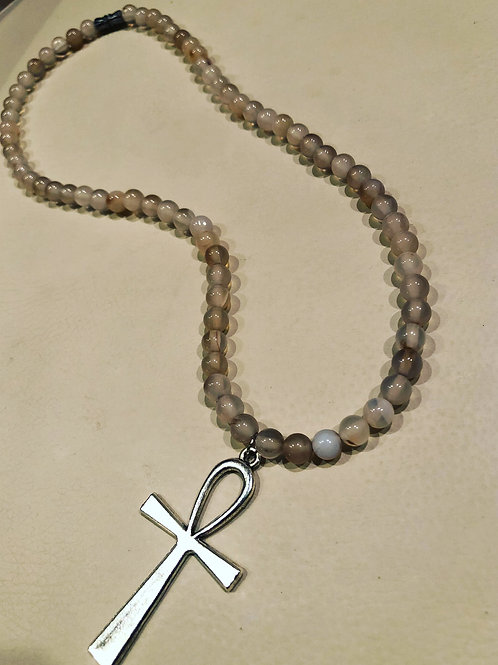 Silver Ankh and chalcedony agate neck adornment