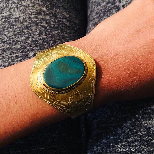 Green Ocean agate brass cuff