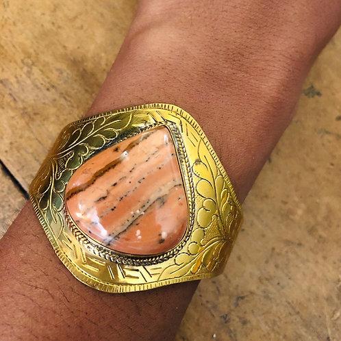 Rhodonite brass cuff