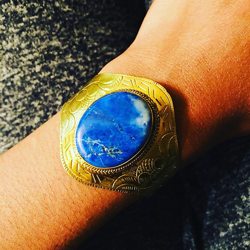 Lapis lazuli Sky brass cuff