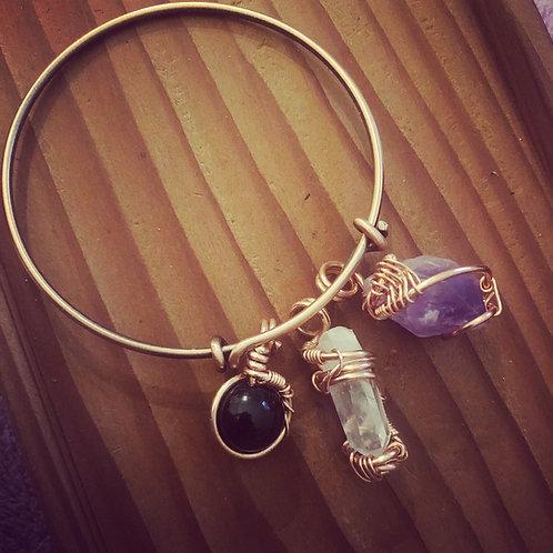Copper (3) crystal charm energy bracelet (unisex)