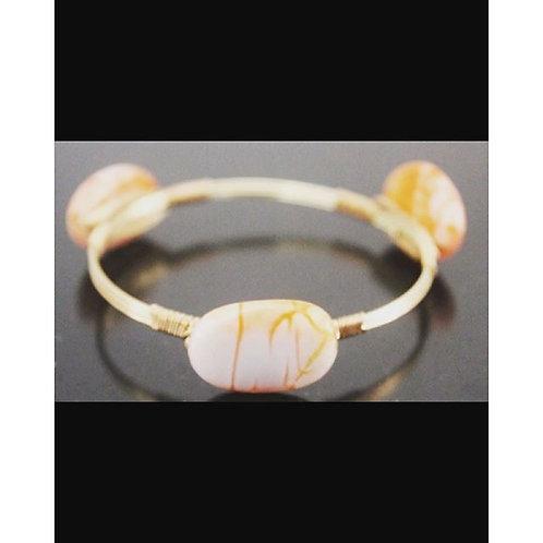 Peach agate  gold energy bangle
