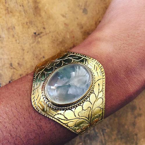Brass Healing Prehnite  cuff