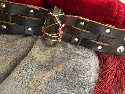Prosperity and protection adjustable leather cuff