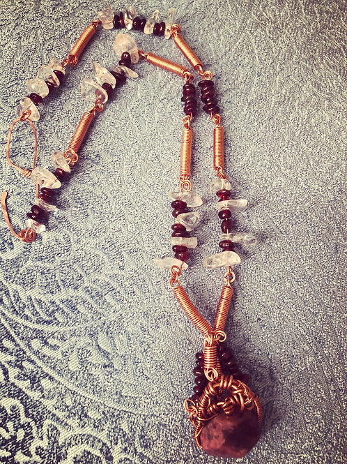 Copper coil Heart of Garnet Quartz neck piece