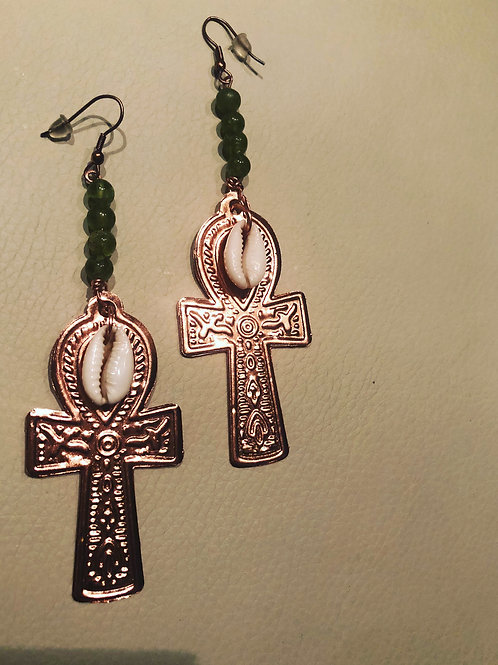 Peridot, Cowrie shell and copper Ankh ear adornments