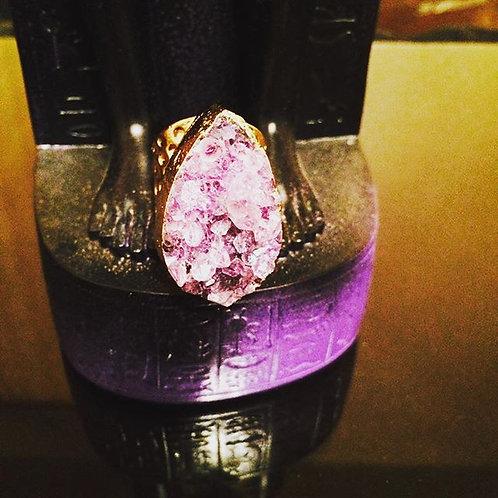 Large Crystal Amethyst cluster tear cuff