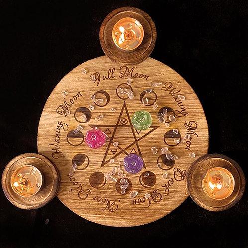 Wood Astrology candle holder / Crystal  Grid