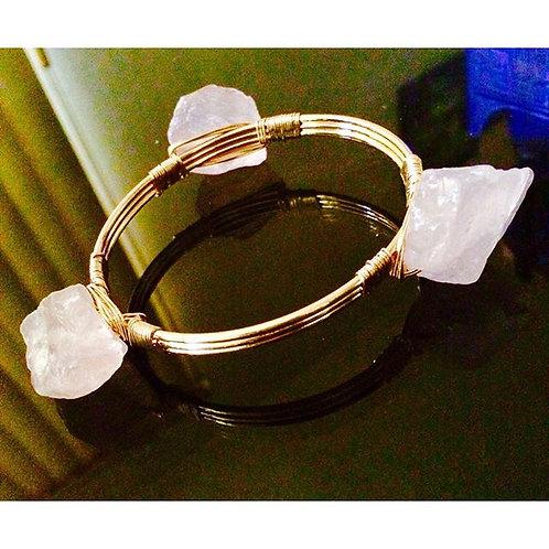 Brass  Rose Quartz energy bangle