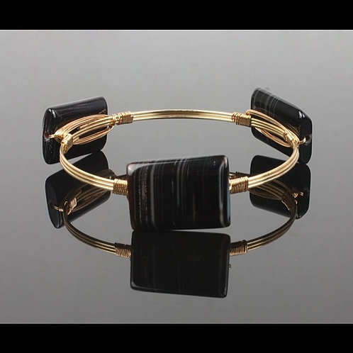 Black and white marble Agate gold energy bangle