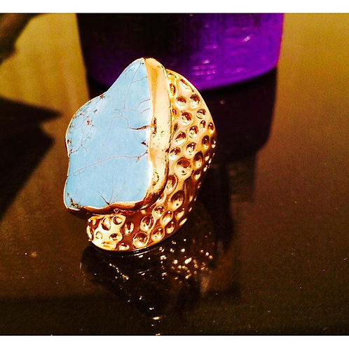 Textured Gold Turquoise nugget cigar ring