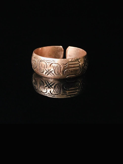 Sacred geometry copper finger cuff resizable