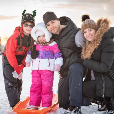 Family Portrait Winter Sledding