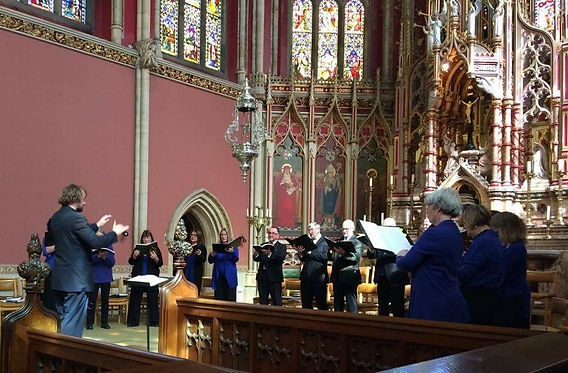 Fenham Ensemble singing in St Cuthbert's Chapel, Ushaw College, Durham