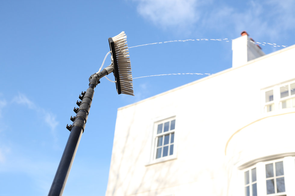 Window cleaning using the water fed pole system, also called reach and wash..jpg
