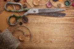 scissors, buttons, thread