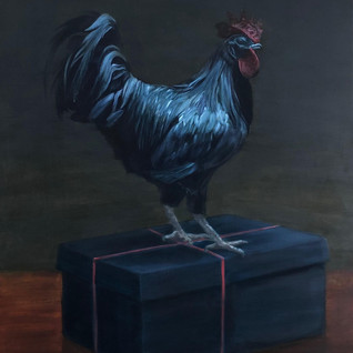 Shoebox tied with a ribbon of read, 2019, oil on aluminium, 80 x 64cm.
