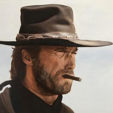 Clint Eastwood, 2017, oil on aluminium, 45 x 60cm.