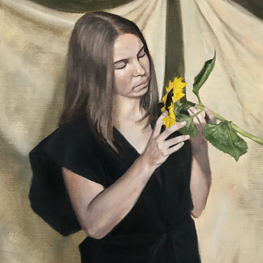 Hold your breath while you're safe, 2017, oil on aluminium, 60 x 45cm.