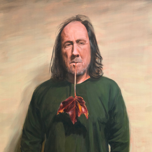 The Red Leaf, 2019, oil on aluminium, 75 x 50cm.