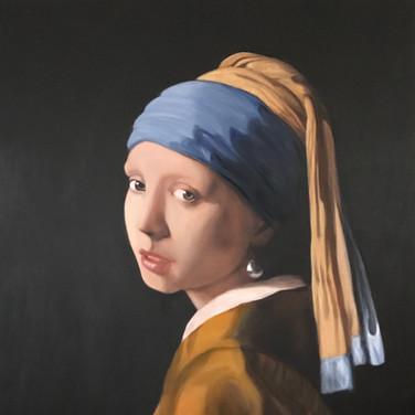 A girl with a pearl earring, 2018, oil on aluminium