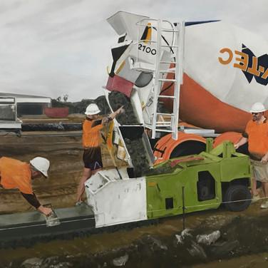 One-push finish, 2017, oil on aluminium, 100 x 150cm.