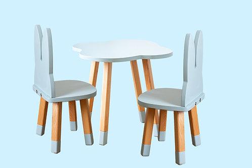 Ensemble coloris gris bleu bureau nuage + 2 chaises
