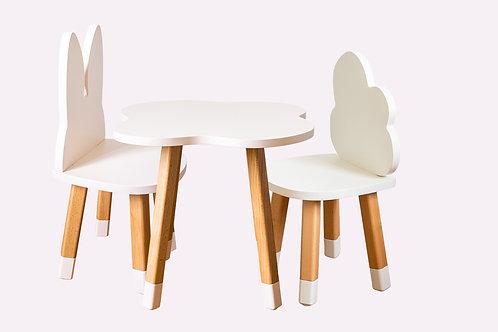 Ensemble coloris mixte bureau nuage + 2 chaises
