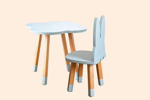 Ensemble coloris bleu gris bureau nuage + 1 chaise