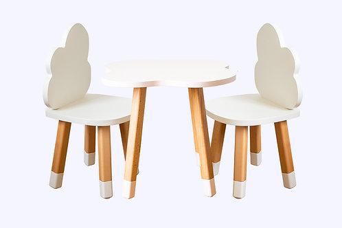 Ensemble coloris blanc bureau nuage + 2 chaises