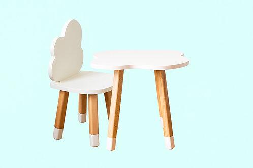 Ensemble  coloris blanc bureau nuage + 1 chaise