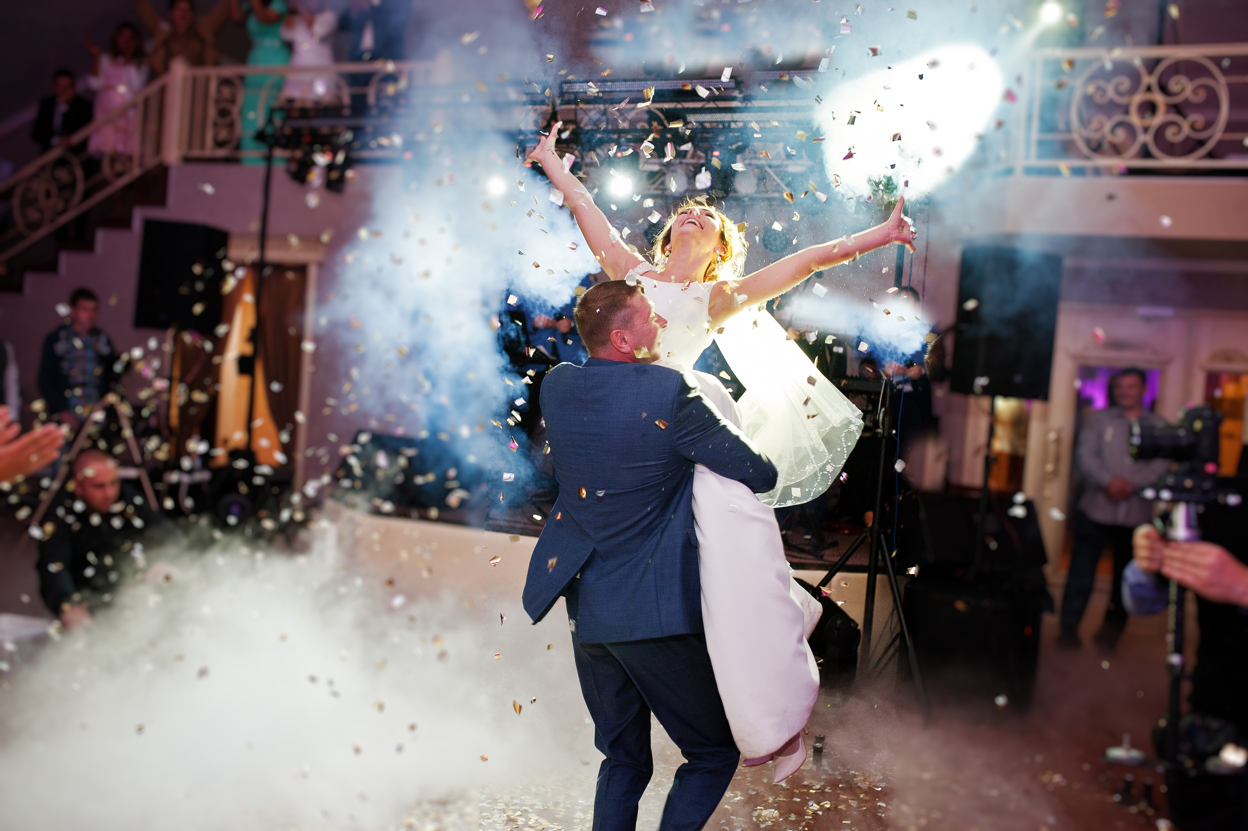 Newly married couple dancing on their we
