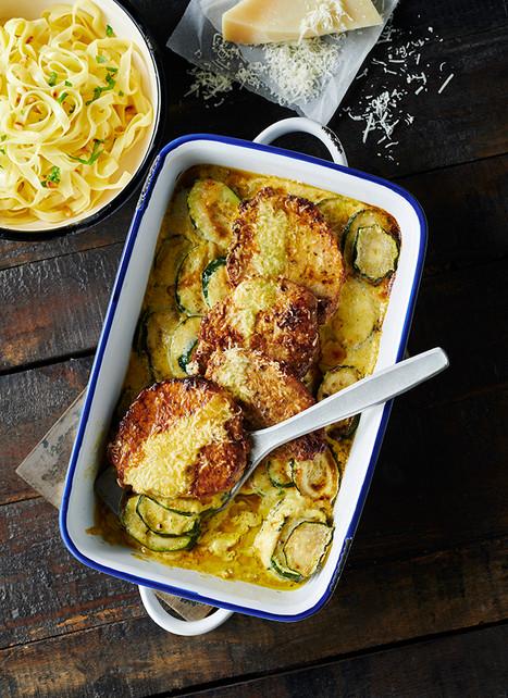 Kalbsschnitzelchen auf Zucchini-Rahmsauce