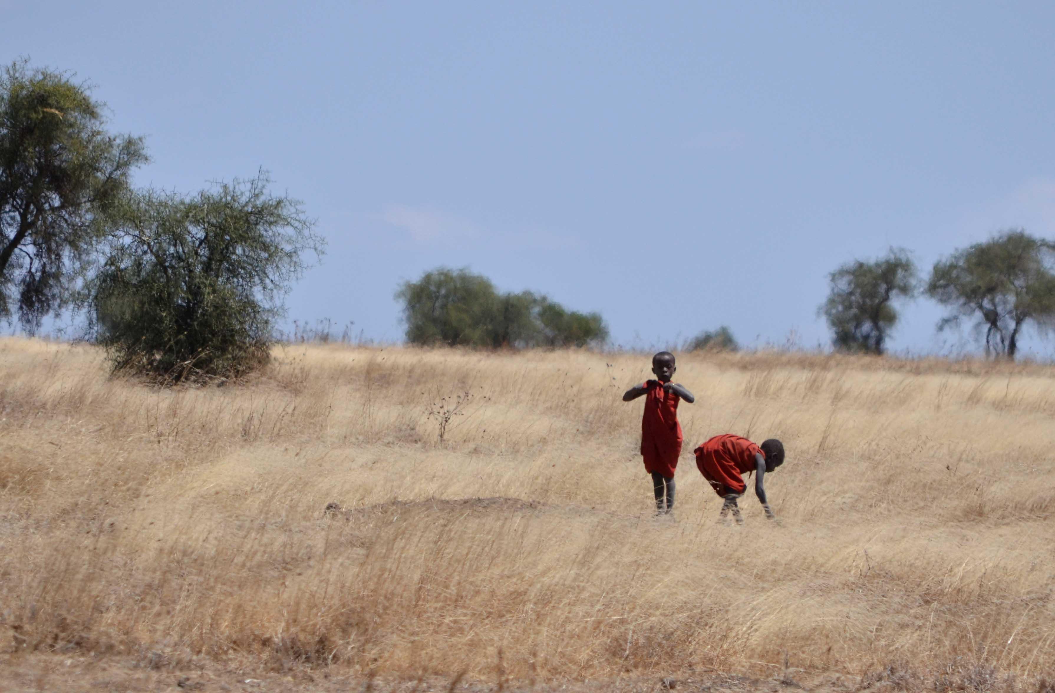 Niños Maasai en safaris en Tanzania