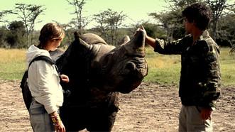 Miembros de nuestro equipo por la salvación de los rinocerontes en el telediario de TVE1