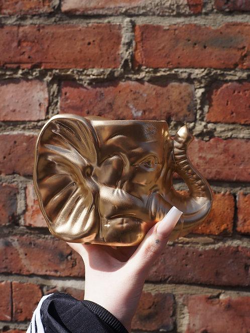 Ezra the Elephant Gold Ceramic Vase