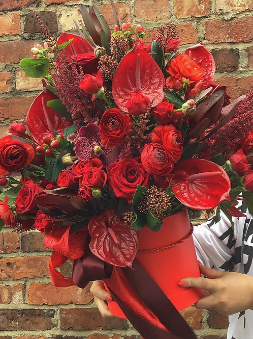 'Love is the drug' Hat Box Bouquet