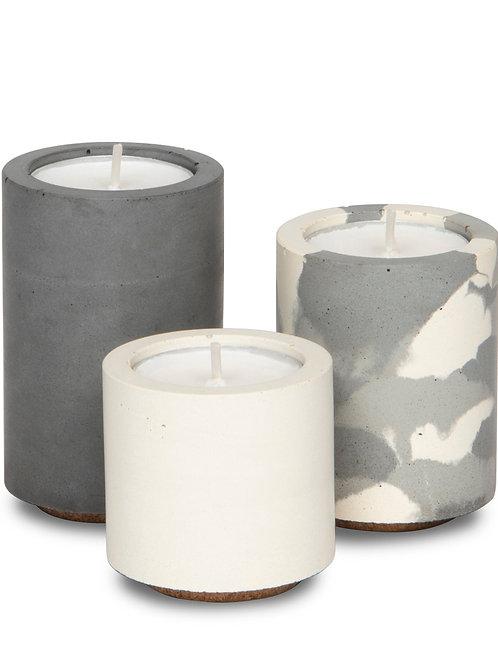Concrete & Wax Tealight Trio - White/Grey/Grey Camo