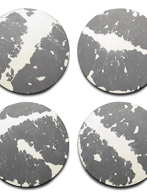 Concrete & Wax Set of 4 Coasters - Grey/White Splatter