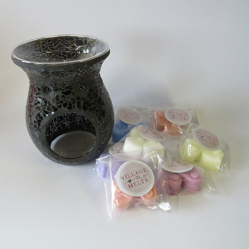 Black Crackle Glass Burner Bundle