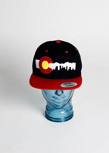 Denver Skyline (White) Snapback Hats