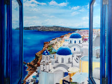 Santorini through window