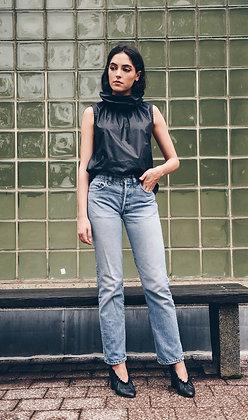 Brooklyn Sleeveless Paperbag Top - Black