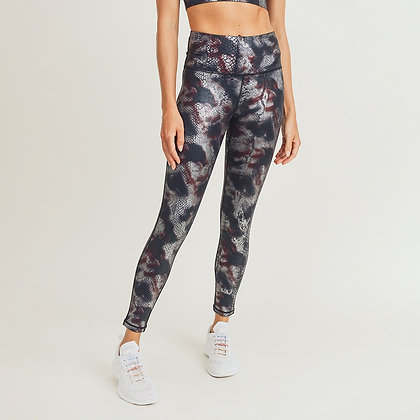 Foil Snake Print Leggings
