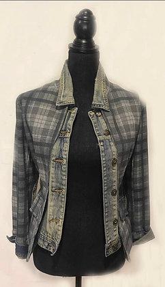 Vintage Plaid Jeans Jacket