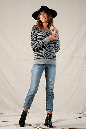 Grey Zebra Sweater